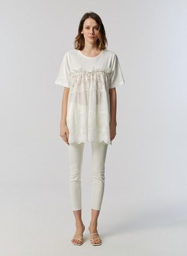 Monamoda Güpür Detaylı %100 Cotton Bluz Beyaz